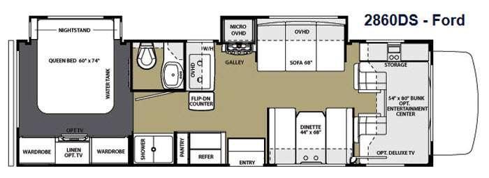 Floorplan - 2014 Forest River RV Sunseeker 2860DS Ford