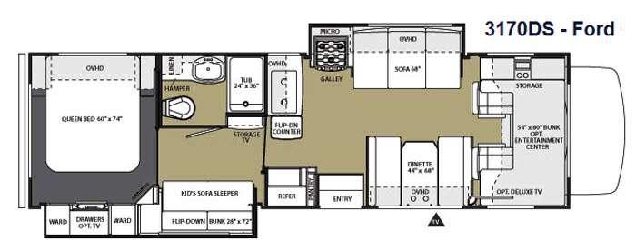 Floorplan - 2014 Forest River RV Sunseeker 3170DS Ford