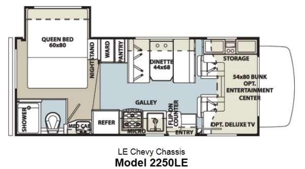Floorplan - 2014 Forest River RV Sunseeker LE 2250LE Chevy