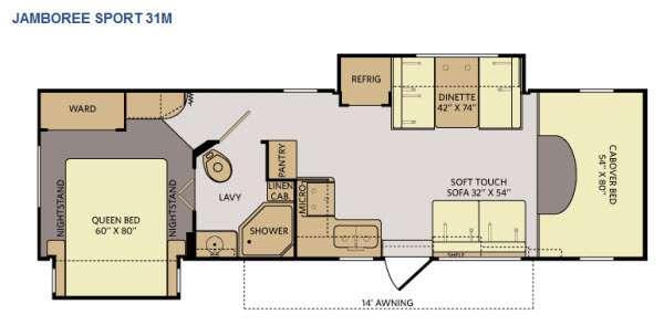 Floorplan - 2014 Fleetwood RV Jamboree Sport 31M