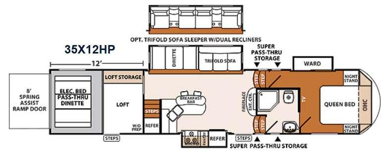 Floorplan - 2014 XLR Thunderbolt 35X12HP Toy Hauler Fifth Wheel
