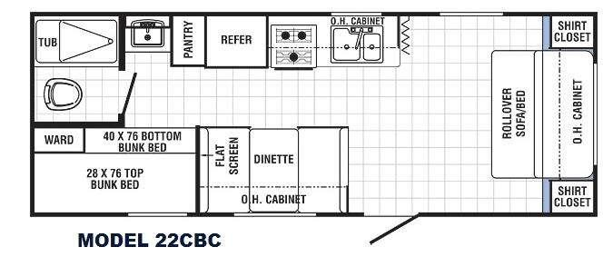 Floorplan - 2014 Canyon Cat 22CBC Travel Trailer
