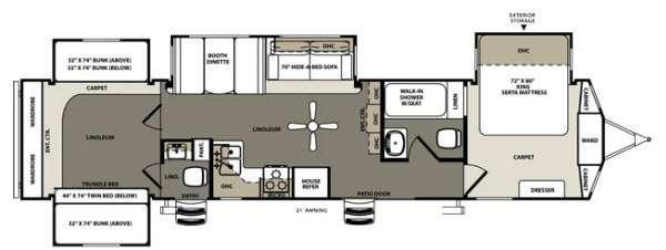Floorplan - 2014 Forest River RV Sierra 402QB