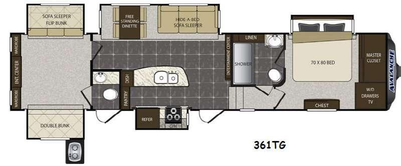 Floorplan - 2014 Keystone RV Avalanche 361TG
