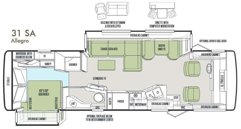 Floorplan - 2014 Tiffin Motorhomes Allegro 31 SA