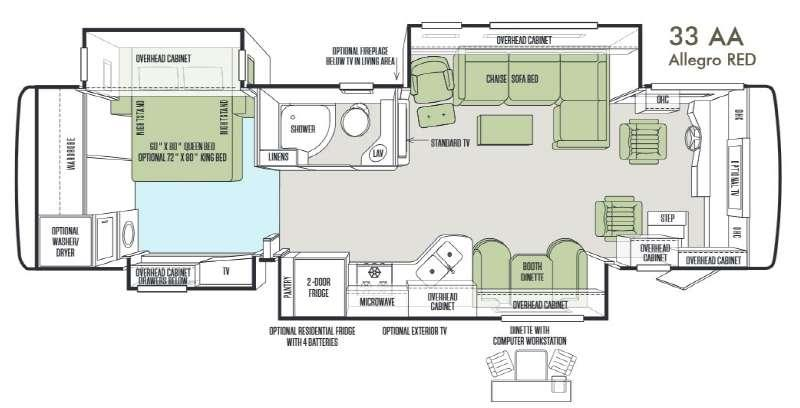 Floorplan - 2014 Tiffin Motorhomes Allegro RED 33 AA