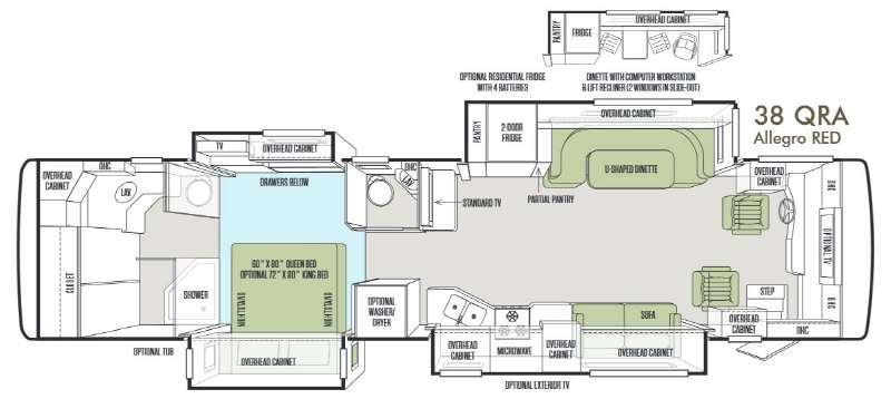 Floorplan - 2014 Tiffin Motorhomes Allegro RED 38 QRA