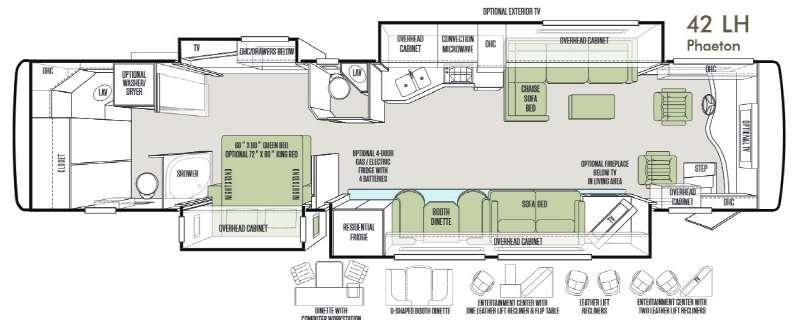 Floorplan - 2014 Tiffin Motorhomes Phaeton 42 LH