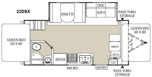 Floorplan - 2014 Coachmen RV Freedom Express 22DSX