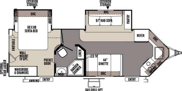 Floorplan - 2014 Forest River RV Rockwood Wind Jammer 2618W