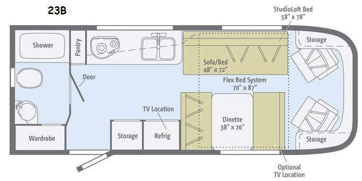 Floorplan - 2014 Itasca Viva 23B