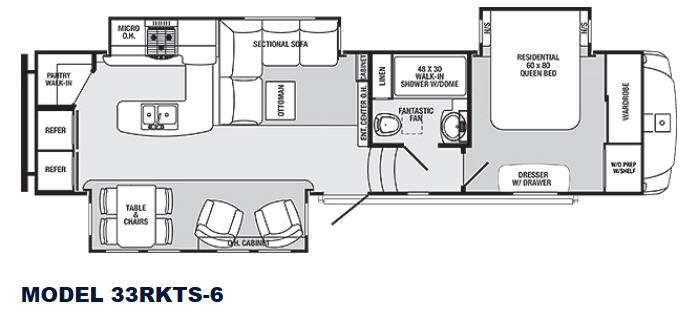 Floorplan - 2014 Sabre 33RKTS 6 Fifth Wheel