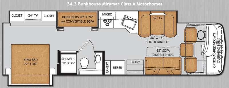 Floorplan - 2014 Miramar 34 3 Bunkhouse Motor Home Class A