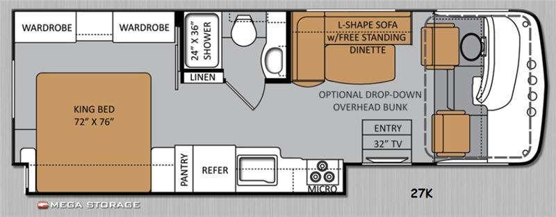 Floorplan - 2014 Thor Motor Coach Hurricane 27K