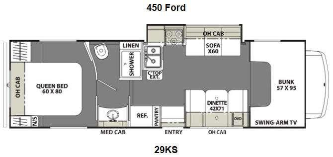 Floorplan - 2014 Coachmen RV Freelander 29KS Ford 450