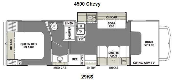 Floorplan - 2014 Coachmen RV Freelander 29KS Chevy 4500