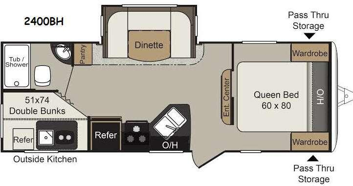 Passport 2400BH Grand Touring Floorplan Image