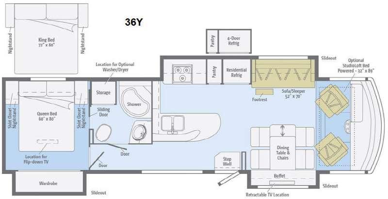 Floorplan - 2015 Sunstar 36Y Motor Home Class A