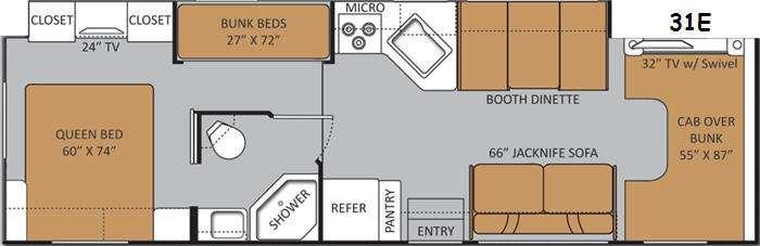 Floorplan - 2014 Thor Motor Coach Four Winds 31E Bunkhouse