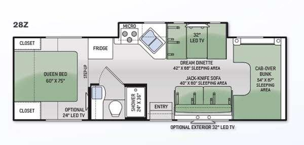 Floorplan - 2015 Thor Motor Coach Four Winds 28Z