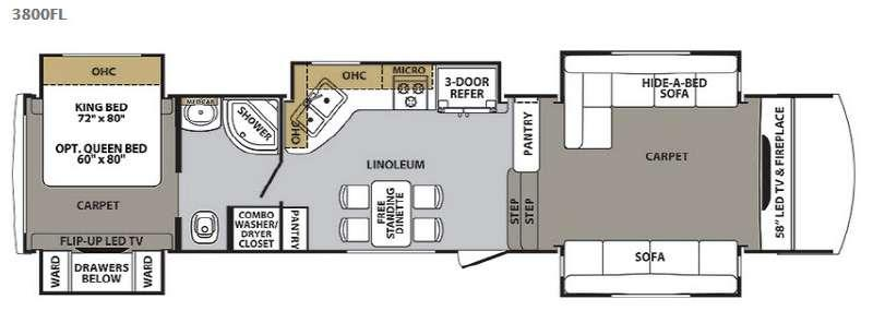 Floorplan - 2015 Forest River RV Cardinal 3800FL