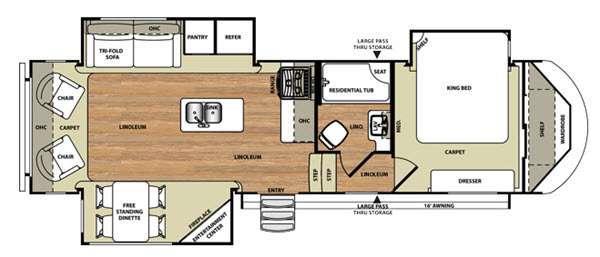 Floorplan - 2015 Forest River RV Wildwood Heritage Glen 286RLT