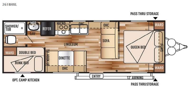 Wildwood X-Lite 261BHXL Floorplan Image