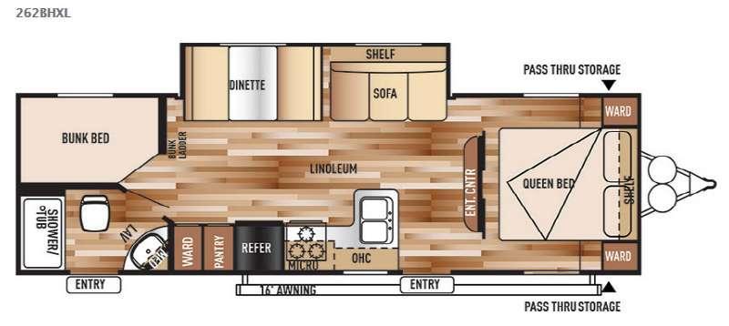 Wildwood X-Lite 262BHXL Floorplan Image