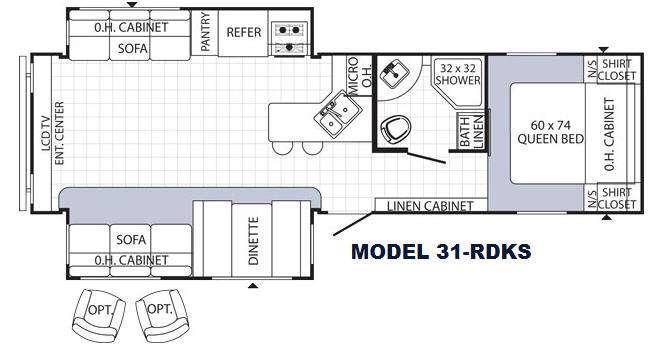Floorplan - 2015 Palomino Puma 31-RDKS