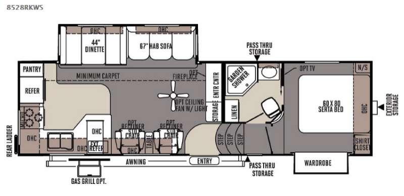 Floorplan - 2015 Forest River RV Flagstaff Classic Super Lite 8528RKWS