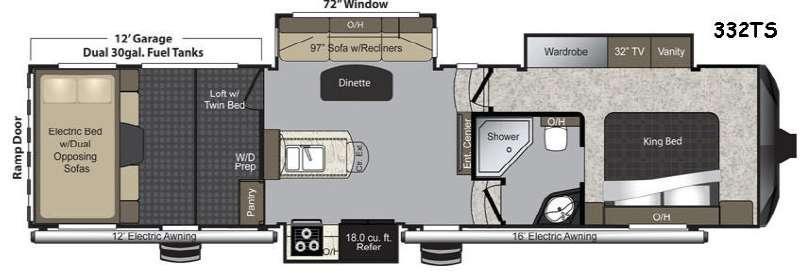 Floorplan - 2015 Keystone RV Raptor 332TS