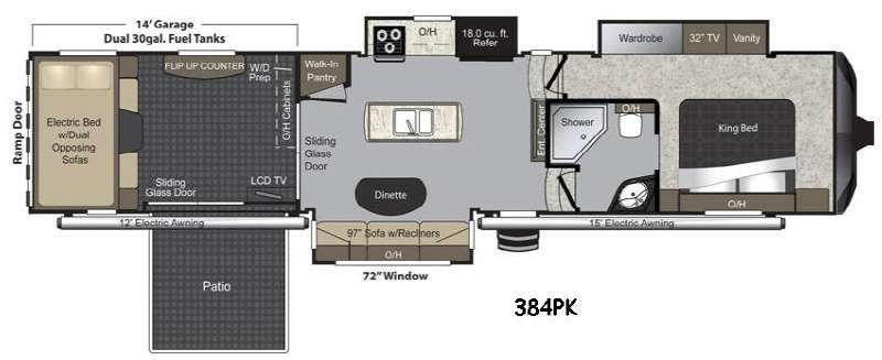 Floorplan - 2015 Keystone RV Raptor 384PK