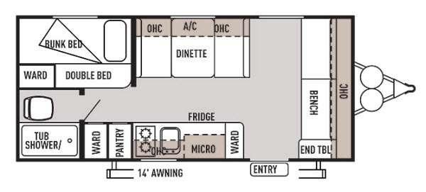 Floorplan - 2014 Forest River RV Wildwood X Lite FS 174BH