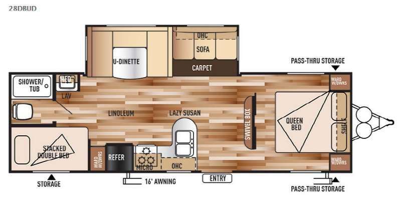 Floorplan - 2015 Forest River RV Wildwood 28DBUD