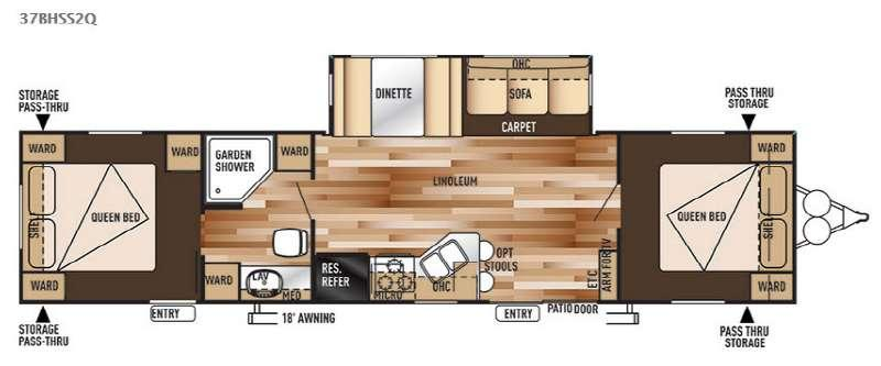 Floorplan - 2015 Forest River RV Wildwood 37BHSS2Q