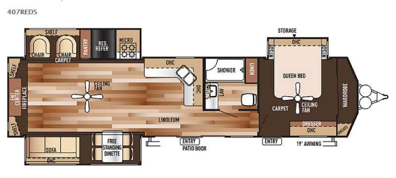 Floorplan - 2015 Forest River RV Wildwood Lodge 407REDS