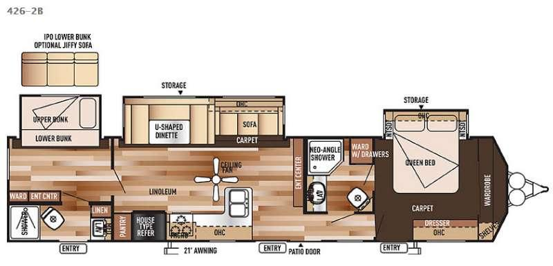 Floorplan - 2015 Forest River RV Wildwood DLX 426-2B