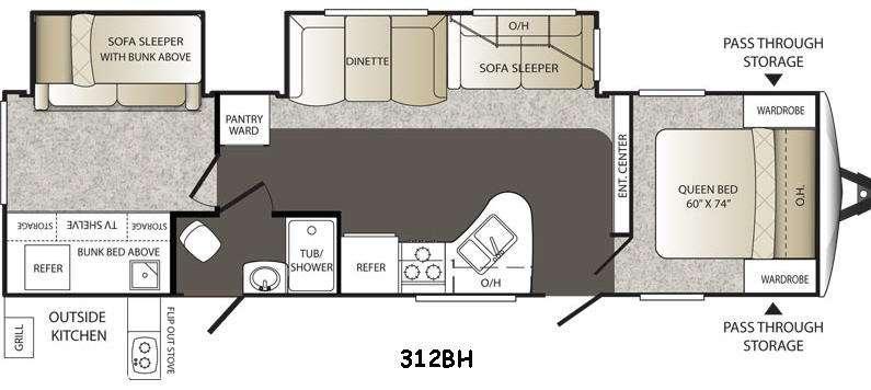 Floorplan - 2015 Keystone RV Outback 312BH