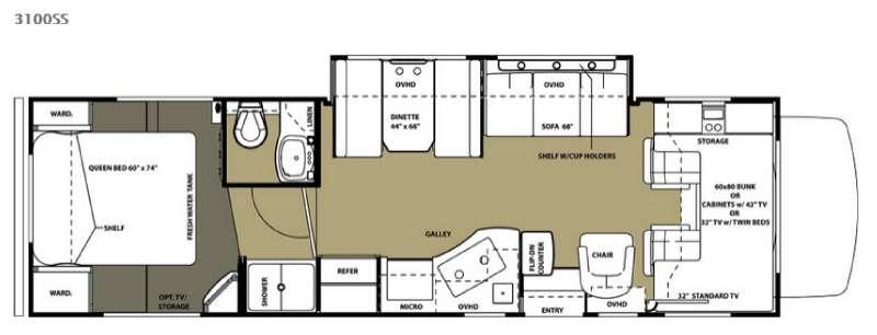 Floorplan - 2015 Forest River RV Sunseeker 3100SS Ford