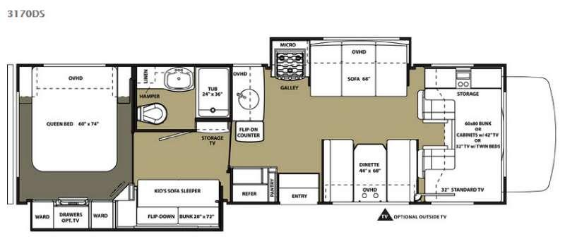 Floorplan - 2015 Forest River RV Sunseeker 3170DS Ford