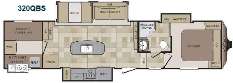 Floorplan - 2015 Keystone RV Cougar 320QBS