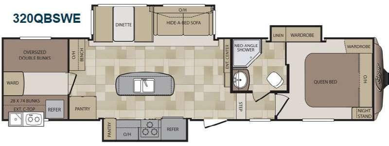 Floorplan - 2015 Cougar 320QBSWE Fifth Wheel