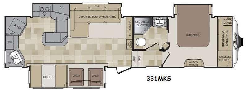 Floorplan - 2015 Keystone RV Cougar 331MKS