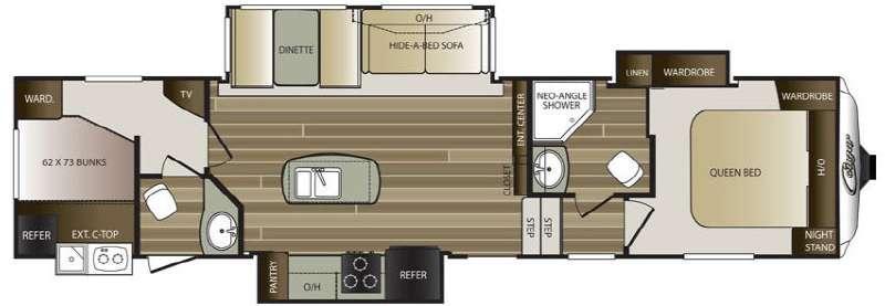 Floorplan - 2015 Keystone RV Cougar 334RBDWE