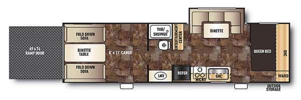Floorplan - 2015 Forest River RV Cherokee Grey Wolf 27RR
