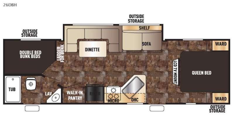 Cherokee Grey Wolf 26DBH Floorplan Image
