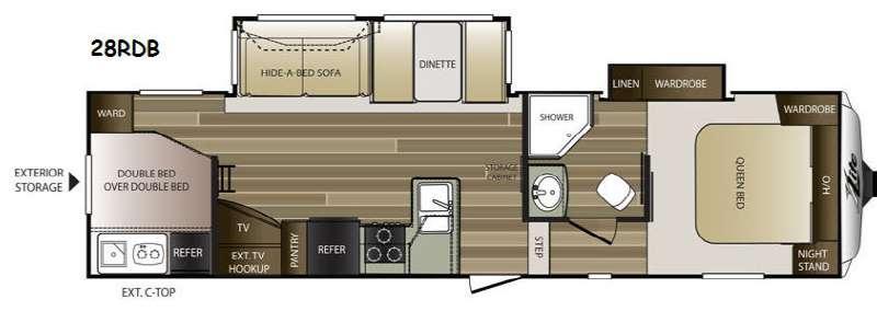 Floorplan - 2015 Keystone RV Cougar X-Lite 28RDB