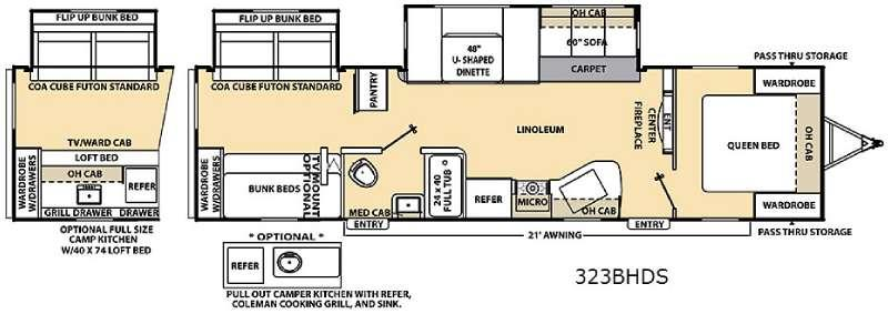 Floorplan - 2015 Coachmen RV Catalina 323BHDS