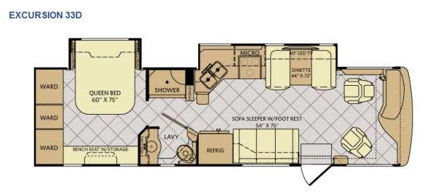 Floorplan - 2015 Fleetwood RV Excursion 33D