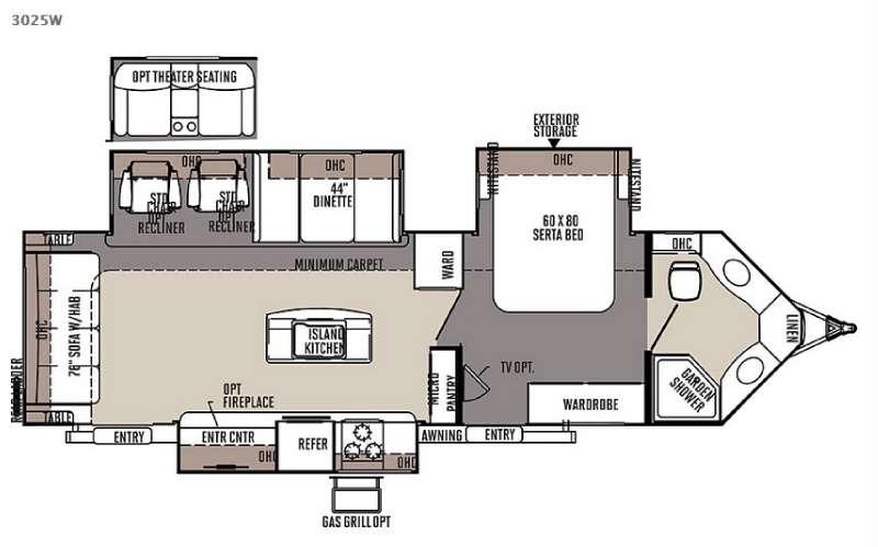 Rockwood Wind Jammer 3025W Floorplan